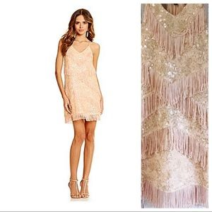 Gianni Bini Sequin & Fringe Blush Pink Dress NEW